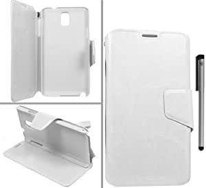 For Samsung Galaxy Note 3 N9005 Deluxe Wallet Pouch Strap Cover Case with ApexGears Stylus Pen (White)