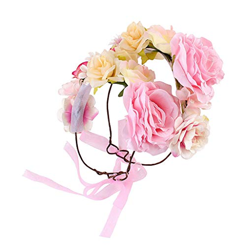 Girl Flower Crown Headband Wedding Prom Beach Floral Garland Hairband Stylish (Color - Pink (for Women+Kids)) ()