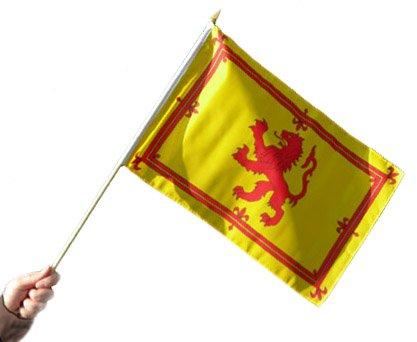 "18/"" x 12/"" Scotland Rampant Lion Hand Waving Flag With Stick"