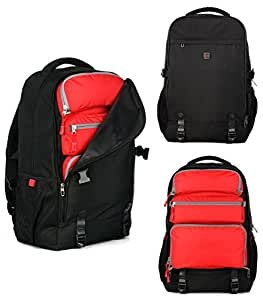 Top Power 8006 Transformable Convertible Carry-on Travel Backpack with Laptop Compartment-Black/Red