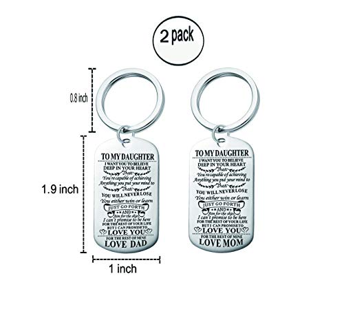 Mom and Dad Give The Daughter A Keychain. I Am Convinced That Your Heart is Smarter Than You Think. Inspirational Quotes Stainless Steel Double-Sided Engraving Keychain (Two Pieces)