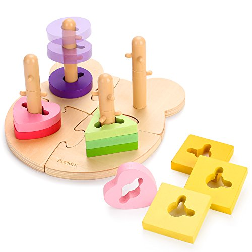 Peradix Wooden Puzzle Toddler Educational Toys Shapes Sorter Sorting Stacking Baby Toys Preschool Geometric Blocks Stacking Games Kids by Peradix