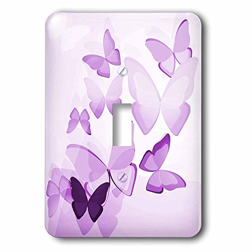 3dRose lsp_101505_1 Pretty Transparent Purple Butterflies Single Toggle Switch, Multicolor