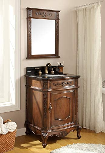 24 Powder Room Special Debellis Bathroom Sink Vanity W Matching Mirror Bwv 047gt Mir Furniture Decor