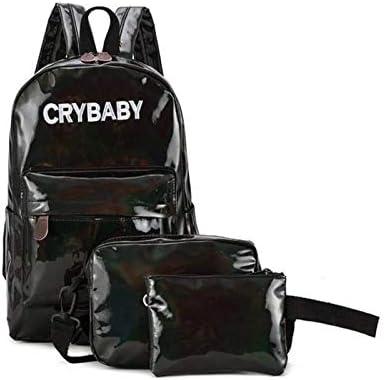 penbags 3pcs//Set OneMoreT 2019 Holographic Laser Backpack Embroidered Crybaby Letters Hologram Backpack Set School Bag Black Shoulder Bags