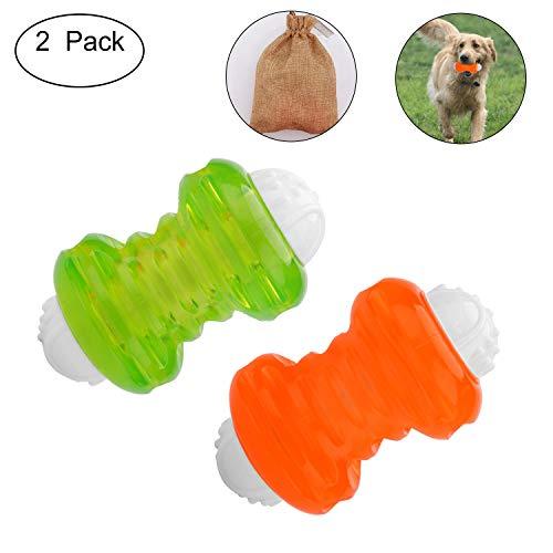 Sainish 2 Pack Interactive Dog Balls Dog Toys Durable Ball - Rubber Dog Toys Pets Tooth Clening/Playing/Traning Exercise(Blue+ Oringe)