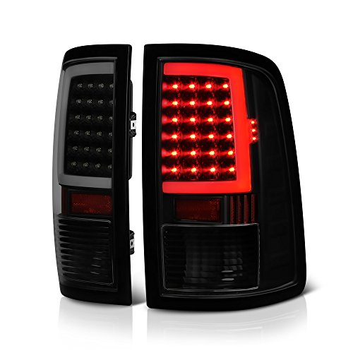 VIPMOTOZ OLED Neon Tube Tail Light Lamp For 2009-2018 Dodge RAM 1500 2500 3500 - [Factory Incandescent Model] - Matte Black Housing, Smoke Lens, Driver & Passenger Side