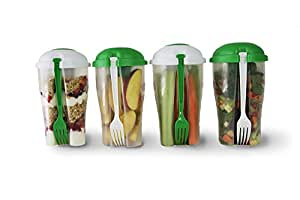Portable Salad Container 2 Pack For Lunch To Go Includes Plastic Salad Shaker with Free e-book, Plastic Dressing Containers and Forks Compact and Travel Friendly