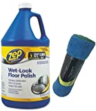 zep wet - Zep Commercial JR-OON1A Wet Look Floor Polish, 1 gal Bottle with Cleaning Cloths