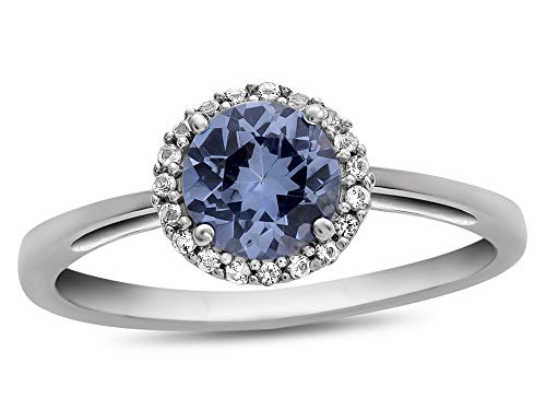 Finejewelers 10k White Gold 6mm Round Simulated Aquamarine with White Topaz accent stones Halo Ring Size 6