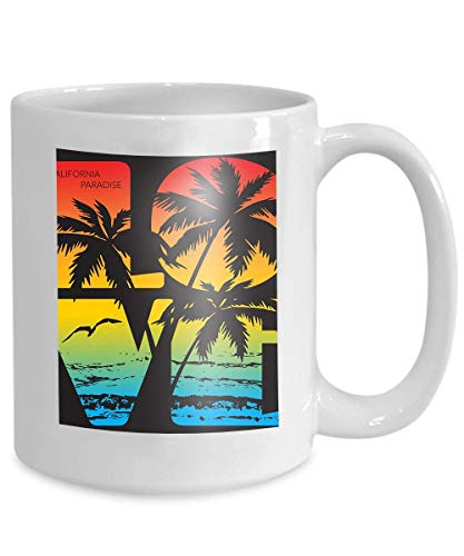 mug coffee tea cup california paradise typography printing design sports apparel ca ocean beach original wear concept vintage 110z