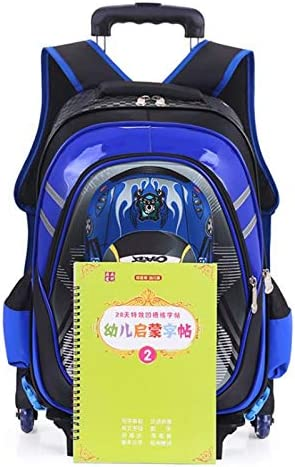 Color : Red, Edition : 6 Rounds Ly-lgb New Boys car six Rounds of Stairs Trolley Bag Schoolboy Shoulder Cartoon Childrens Bag Waterproof