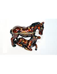 Elegant Metal Bejeweled Horse and Colt Pill Box Pill Box