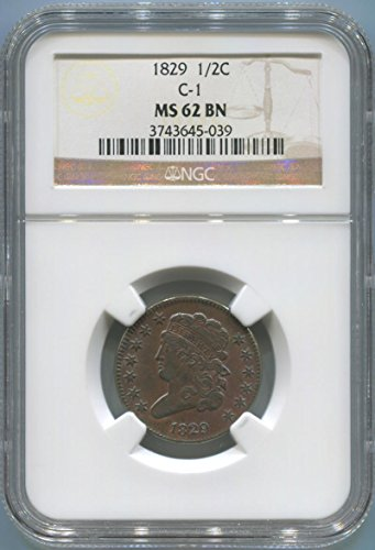 1829 P Classic Head Half Cent Half Cent MS62 NGC