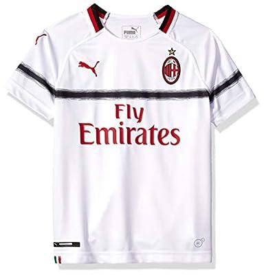 PUMA Men's Standard AC Milan Shirt Replica SS with Sponsor Logo, Kids Away White-Tango Red, XL