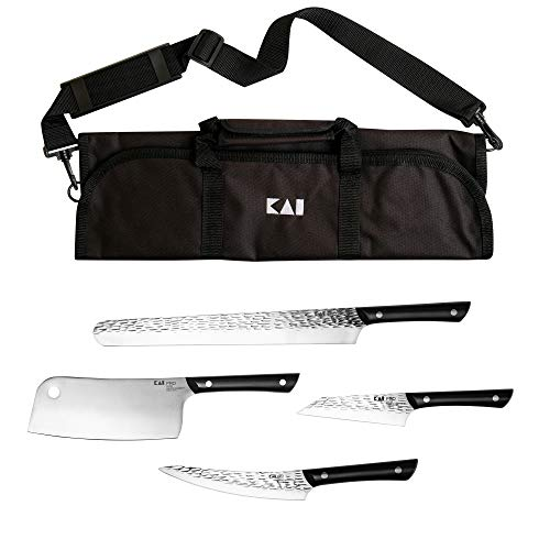 Kai Housewares 5-Piece BBQ Set, From the Makers of Shun; Includes 12-in Slicing/Brisket Knife, 7-in Cleaver, 6.5-in Boning/Fillet, 5-in Asian Multiprep, and Carrying Case; The Ultimate Grilling Set (Best Knife For Slicing Brisket)