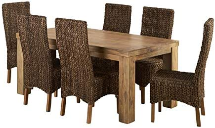 Oak Furniture Land Mantis Light Natural Solid Mango Dining Set - 6ft Table with 6 High Back Grass Chairs