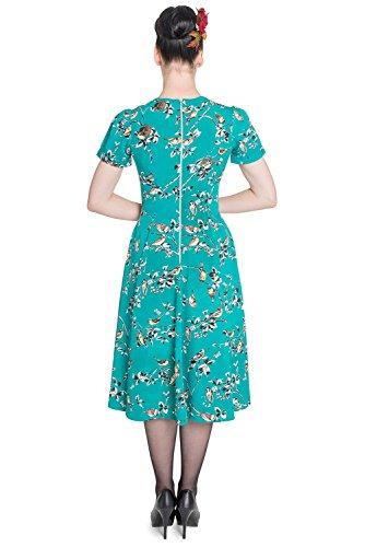 50 Bleu Robe Retro Style Annes Bunny Sarcelle Hell Vintage Rockabilly Birdy 40 w6qAHzS