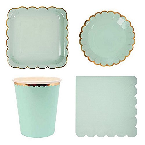 SHZONS Party Supply Pack Disposable Paper Plates Cups Napkins for Parties Wedding Baby Shower (Mint Green)