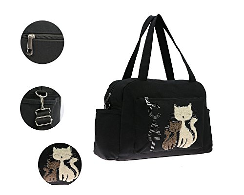 Purses Women Cartoon Cute Black Handbag Waterproof Travel Canvas Function Multi Backpack for Large Nappy Capacity Cat Baby Care Bags Bag Crossbody for Tote Ixq5xwBz