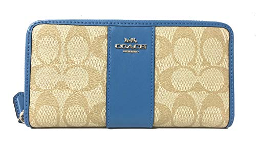 Coach Signature PVC Accordion Zip Around Wallet (light Khaki/Bright Blue), Medium