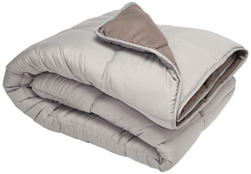 LINENSPA All-Season Reversible Down Alternative Quilted Comforter - Corner Duvet Tabs - Hypoallergenic - Plush Microfiber Fill - Box Stitched - Machine Washable - Stone / Charcoal - Queen (Count Von Count Plush)