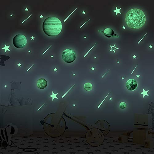 Glow in The Dark Stars and Planets Bright Solar System Wall Decals for Kids Glowing Ceiling Decals Space Wall Stickers for Nursery Bedroom Living Room,Shining Outer Space Decoration for Kids Toy (Jupiter Stores Furniture)