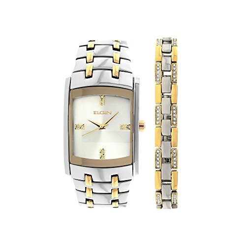(Elgin Men's Crystal Accent Two-Tone Watch and Bracelet Set)