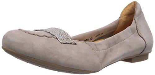 Think BALLA - Bailarinas de cuero para mujer gris Grau (Titan) beige - Beige (KORK/KOMBI 25)