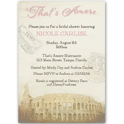 bridal shower invitations pink thats amore grazie italy italian theme