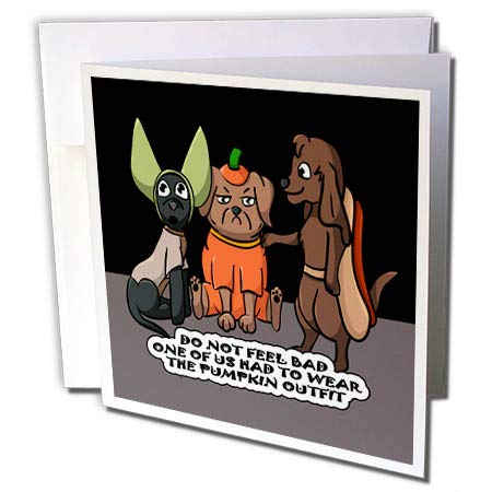 3dRose Sandy Mertens Halloween Designs - Dog Costume Cartoon, Funny Quote with Pumpkin Outfit, 3drsmm - 12 Greeting Cards with envelopes (gc_290229_2)