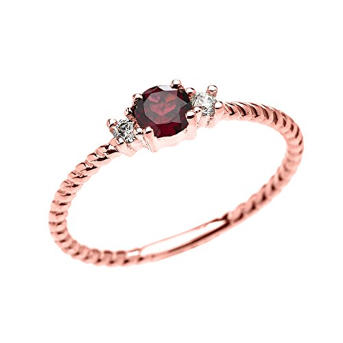 Rope Design Solitaire Ring (10k Rose Gold Dainty Solitaire Garnet and White Topaz Rope Design Stackable/Proposal Ring (Size 6))