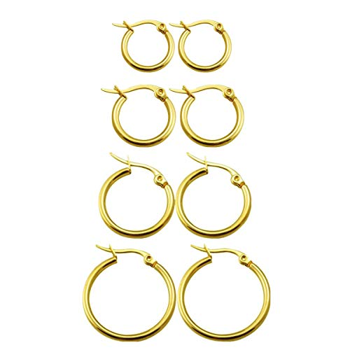 Calors Vitton 4 Pairs Gold Plated Stainless Steel Huggie Hoop Earrings for Women Girl 15mm-30mm Gold
