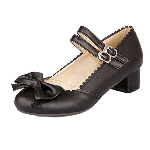 Allhqfashion Mujeres Solid Microfiber Low-heels Hebilla Bombas-zapatos Negro