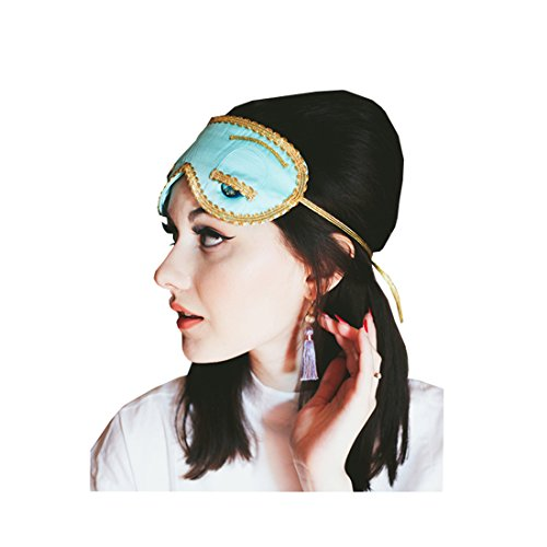 [Sleep Eye Mask and Earrings, Audrey Hepburn Breakfast at Tiffany's, Set] (Tiffany Blue Costume Jewelry)