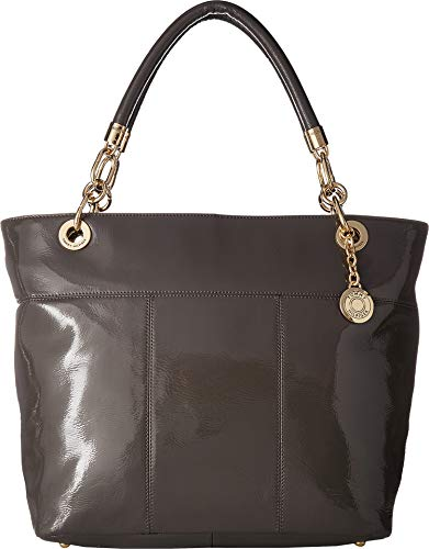 - Tommy Hilfiger Women's TH Signature - Top Zip Tote - Cracked Patent Leather Mushroom One Size