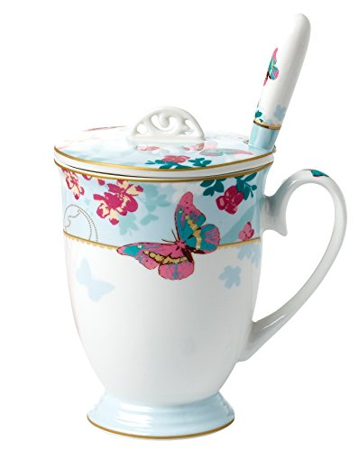 Jusalpha Royal Fine Bone China Butterfly Coffee Mug With Lid/ Tea Cup/ Gift Box (FLYH-Mug) (Blue)