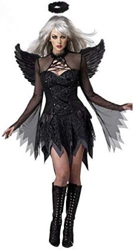 GHLLSAL Disfraz de Diablo Negro Blanco Ángel Caído Mujeres Sexy ...