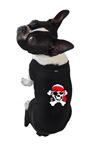 Extra Large Dog Pirate Costume (Ruff Ruff and Meow Dog Tank Top, Skull & Crossbones, Black, Extra-Large)