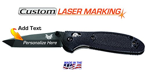 Custom Laser Engraved Knife - Benchmade Mini Griptilian, Black Tanto Blade, Fine Edge ()