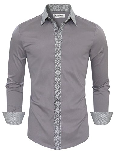 Tom 39 s ware mens trendy slim fit inner checkered button for Tom s ware mens premium casual inner contrast dress shirt