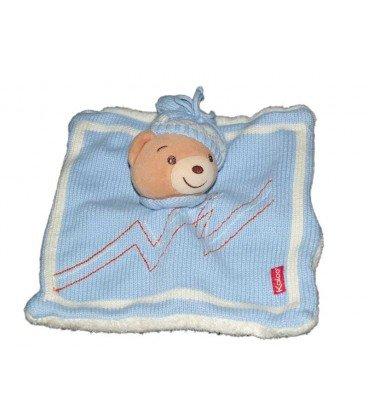 Doudou Plat Ours bleu blanc Bonnet Laine tricot
