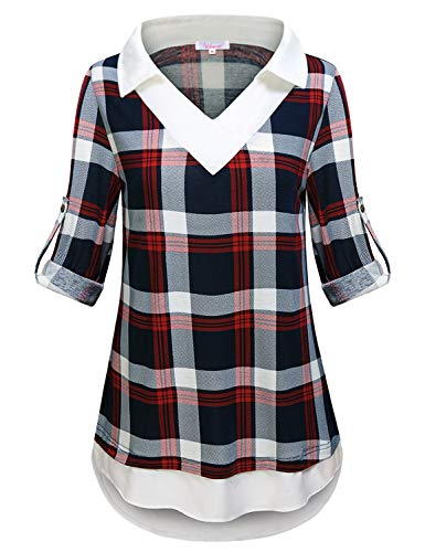 Tunic Tops for Leggings for Women,Womens Work Tee Shirts Notch V Neck 3 4 Cuff Sleeve Tops Button Down Buffalo Plaid Blouse Chiffon Boutique Tunic Country Shirts for Women #5 Red XX-Large