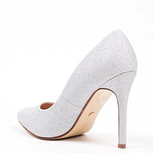 King Of Shoes Klassische Damen Stilettos Pumps High Heels Plateau Schuhe Spitz 60 Silber 09