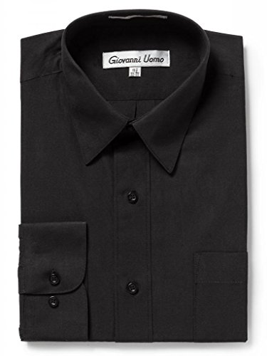 (GIOVANNI UOMO Men's Traditional Fit Solid Color Dress Shirt Black 18.5 32/33)