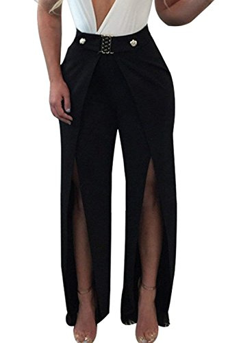 HaiDean Donna Pantaloni Baggy Eleganti High Waist Spacco Pantalone Larghi Fashion Sciolto Cocktail Party Chic Ragazza Per La Notte Pantaloni Estivi Pantaloni Per Donna Colori Solidi Abbigliamento Nero