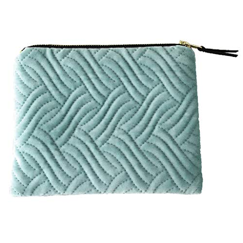 Time Concept Velour Flat Pouch - Blue Wave Pattern Design - Square Flat Casual Wallet, Cosmetic Bag, Toiletry Purse, Pencil Case