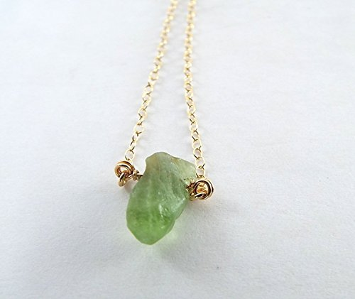 Captive Stone Peridot Necklace (Gold - Raw Peridot