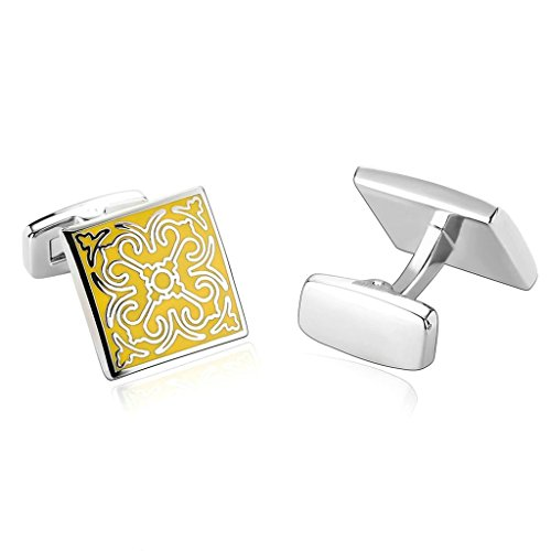 AnnroZ Mens Cufflinks (Nice Gift for Him)Stainless Steel Good Quality Flower Shape,Yellow