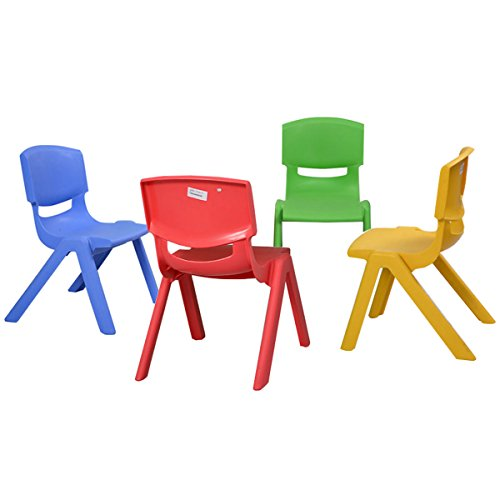 Costzon New Kids Plastic Table And 4 Chairs Set Colorful